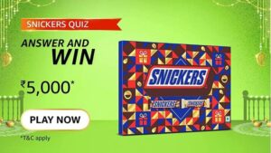 Read more about the article Amazon Quiz Answers Today 22 October 2021   Which American Giant makes Snickers?   Amazon Quiz Answers : Chance to win Amazon Pay Balance 4,000